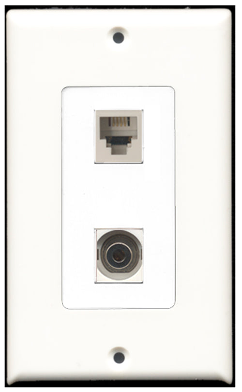 Wallplate City - 1 Port Phone RJ11 RJ12 White 1 Port 3.5mm Decora Type Female F/F Keystone Jack Wall Plate White