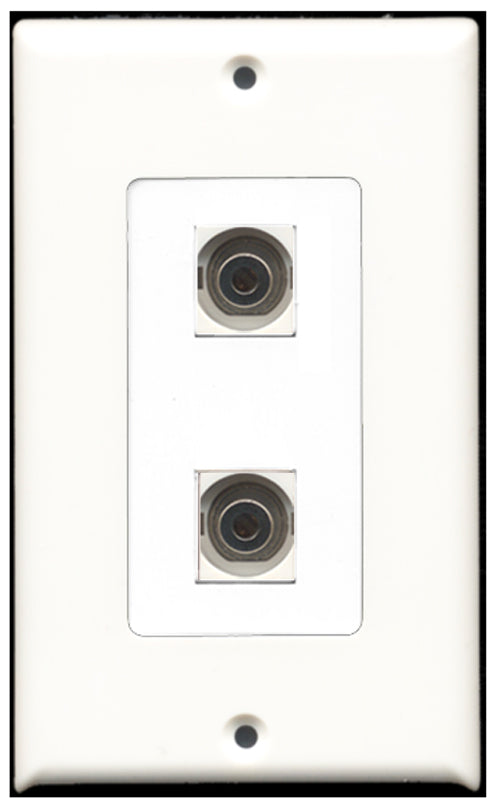 Wallplate City - 2 Port 3.5mm Decora Type Female F/F Keystone Jack Wall Plate White