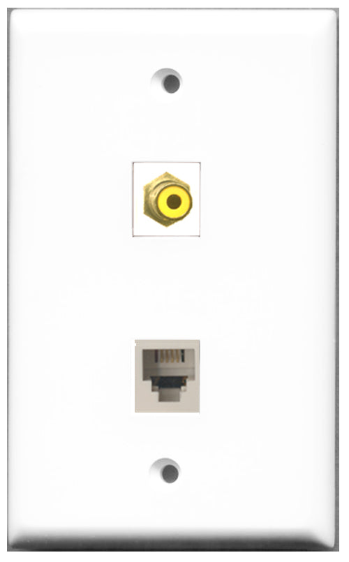 Wallplate City - 1 Port RCA Yellow 1 Port Phone RJ11 RJ12 White Female F/F Keystone Jack Wall Plate White