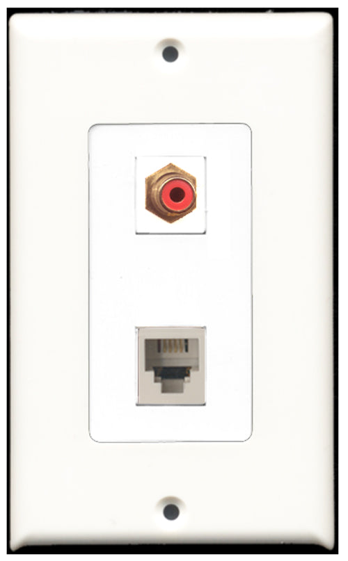 Wallplate City - 1 Port RCA Red 1 Port Phone RJ11 RJ12 White Decora Type Female F/F Keystone Jack Wall Plate White