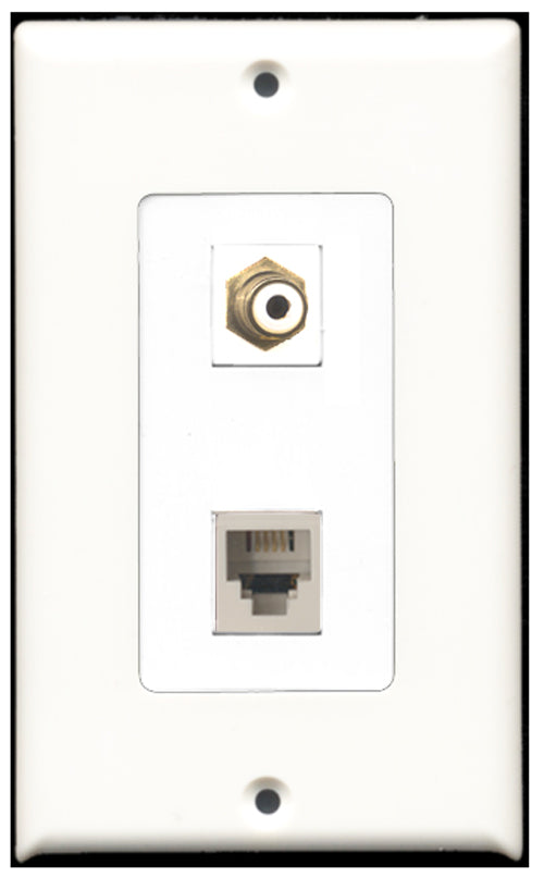 Wallplate City - 1 Port RCA White 1 Port Phone RJ11 RJ12 White Decora Type Female F/F Keystone Jack Wall Plate White