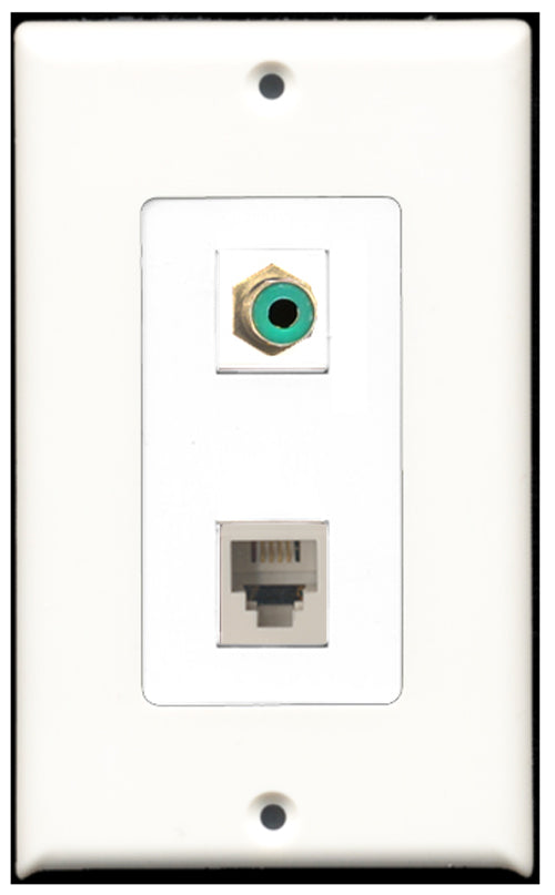 Wallplate City - 1 Port RCA Green 1 Port Phone RJ11 RJ12 White Decora Type Female F/F Keystone Jack Wall Plate White