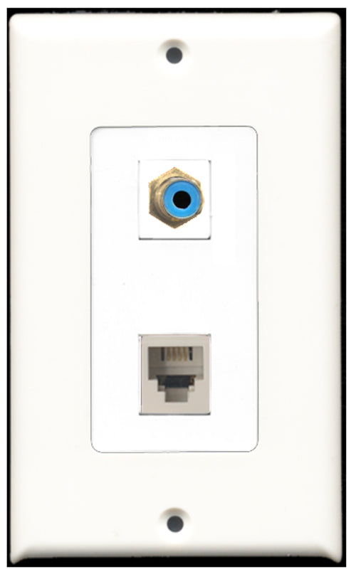 Wallplate City - 1 Port RCA Blue 1 Port Phone RJ11 RJ12 White Decora Type Female F/F Keystone Jack Wall Plate White