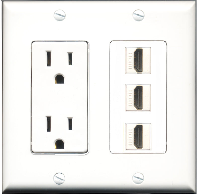 Wallplate City - 15 Amp Power Outlet 3 Port HDMI Decorative Wall Plate