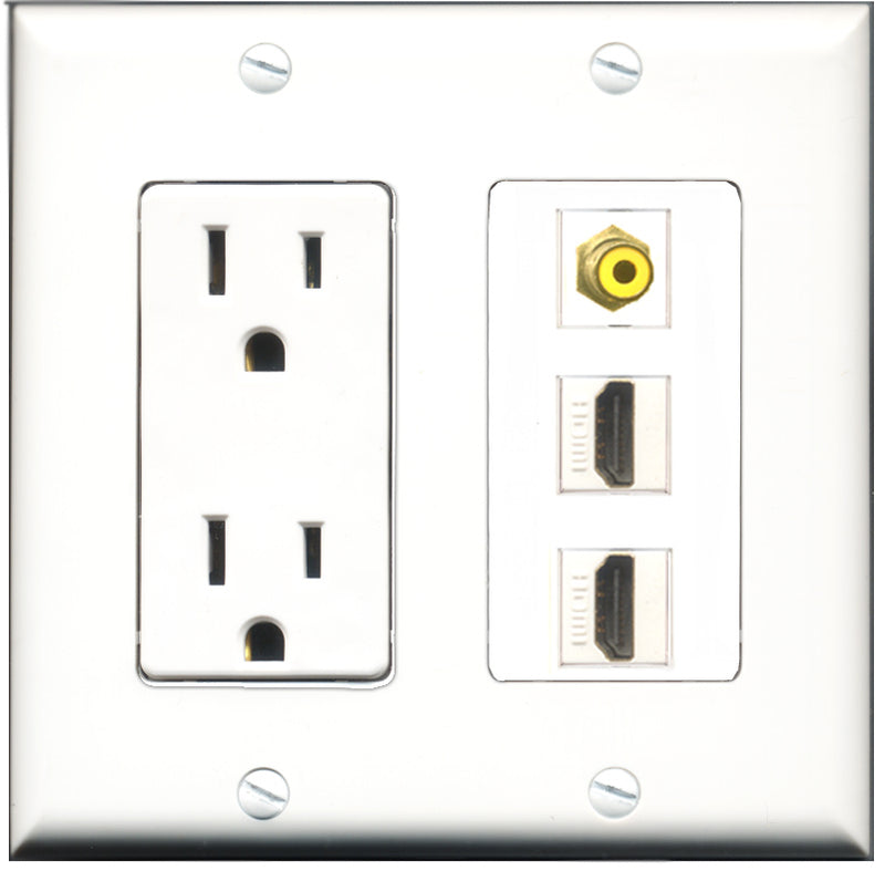 Wallplate City - 15 Amp Power Outlet 2 Port HDMI 1 Port RCA Yellow Decorative Wall Plate