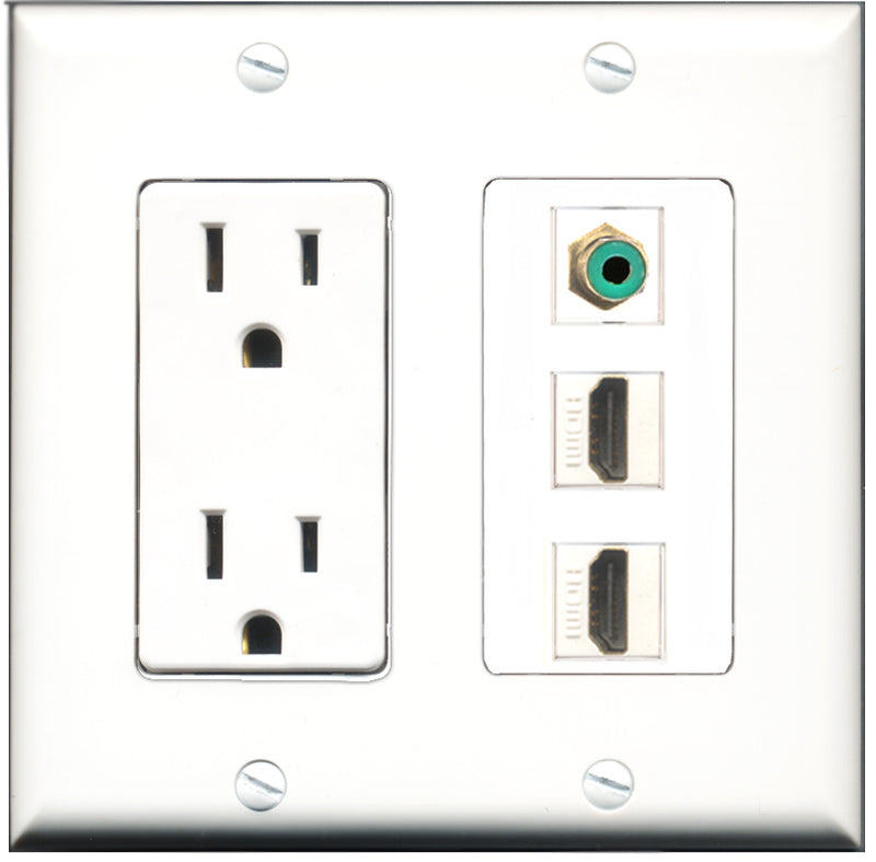 Wallplate City - 15 Amp Power Outlet 2 Port HDMI 1 Port RCA Green Decorative Wall Plate
