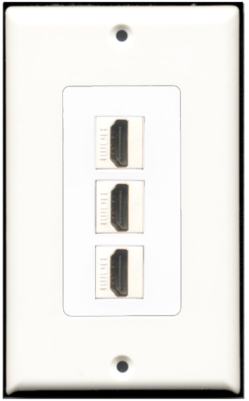 Wallplate City - 3 Port HDMI Wall Plate F/F Decorative