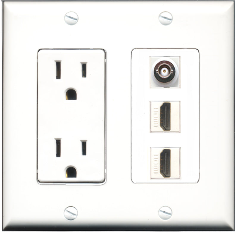 Wallplate City - 15 Amp Power Outlet 2 Port HDMI 1 Port BNC Decorative Wall Plate