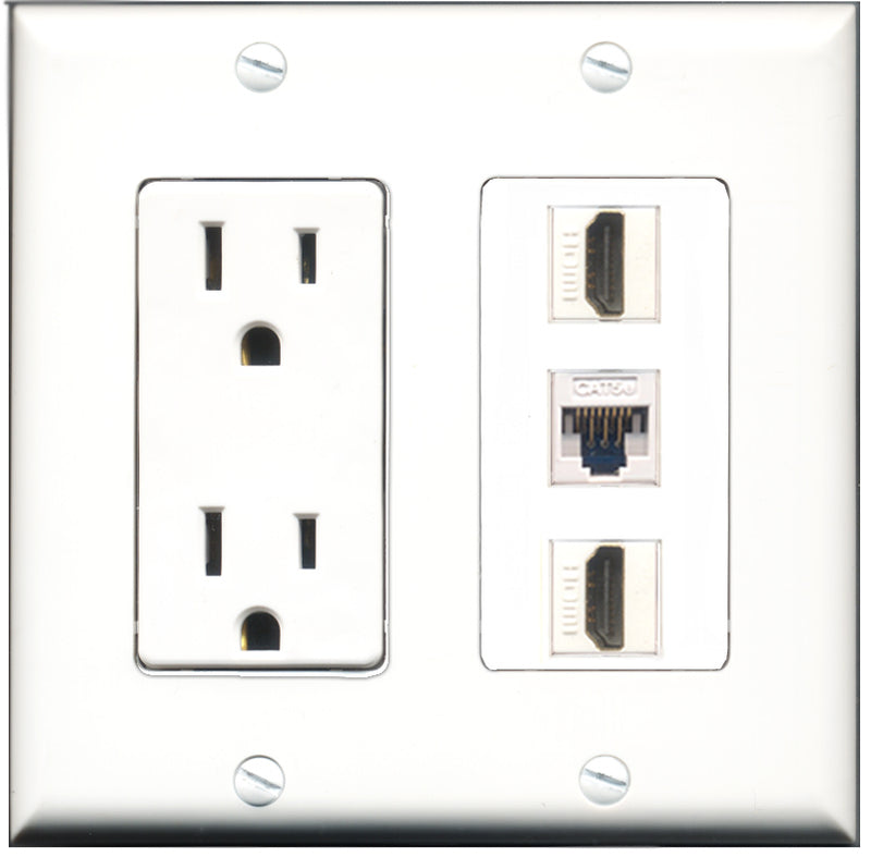 Wallplate City - 15 Amp Power Outlet 2 Port HDMI 1 Port Cat5e White Decorative Wall Plate