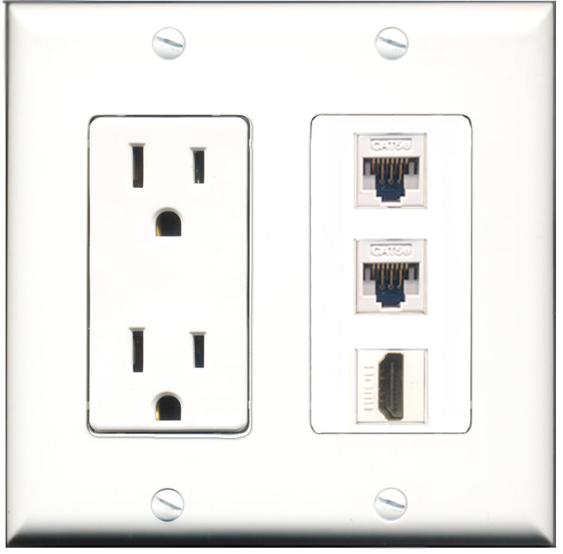 Wallplate City - 15 Amp Power Outlet 1 Port HDMI 2 Port Cat5e White Decorative Wall Plate