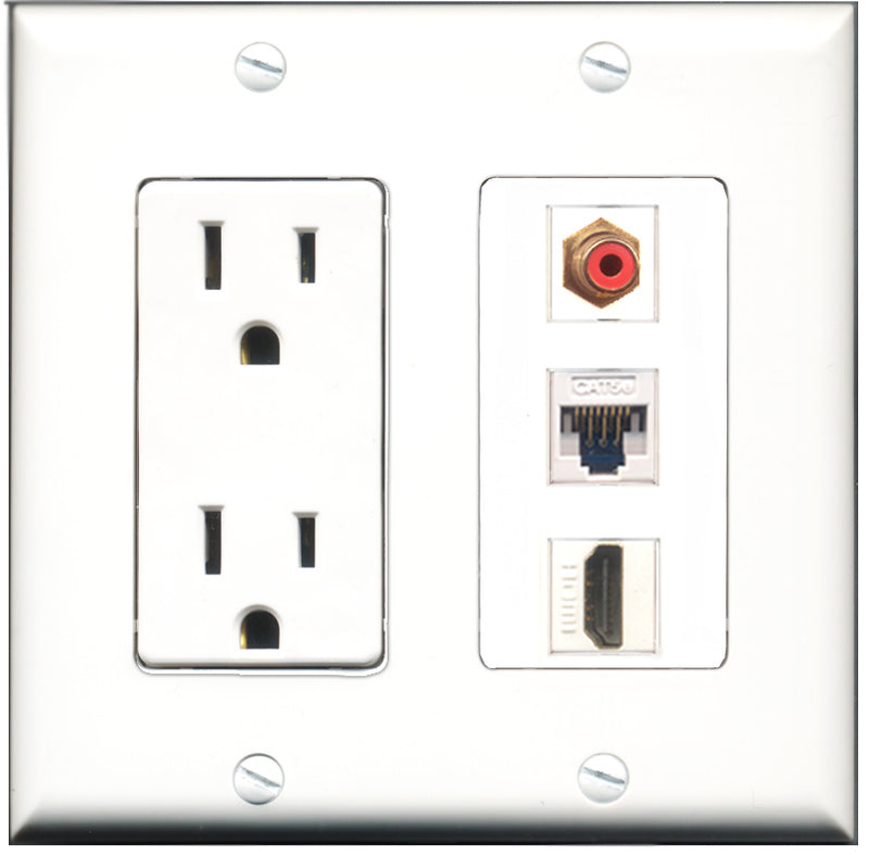 Wallplate City - 15 Amp Power Outlet 1 Port HDMI 1 Port RCA Red 1 Port Cat5e White Decorative Wall Plate