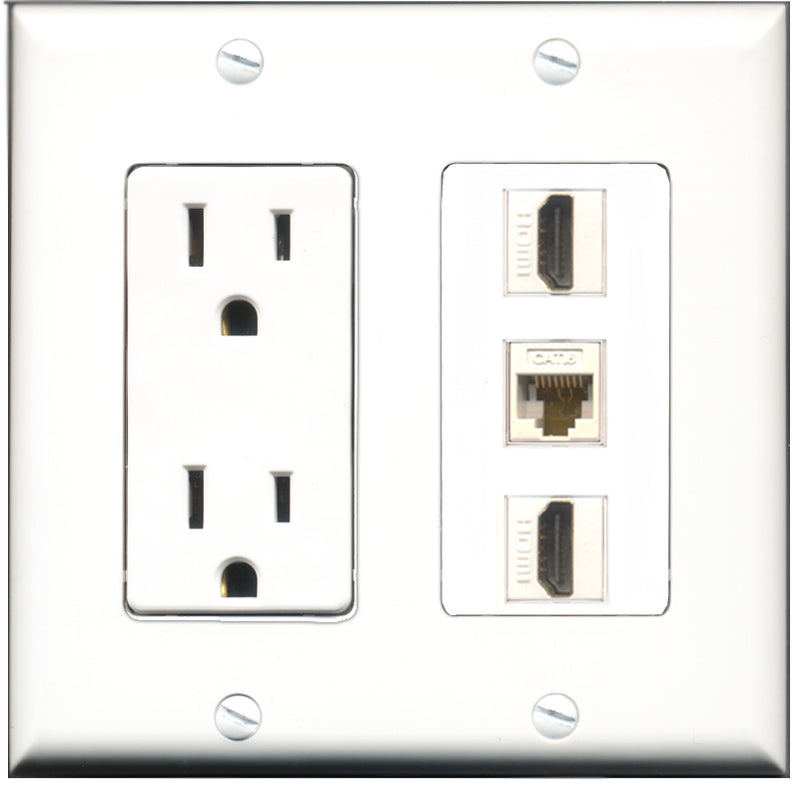 Wallplate City - 15 Amp Power Outlet 2 Port HDMI 1 Port Cat6 White Decorative Wall Plate