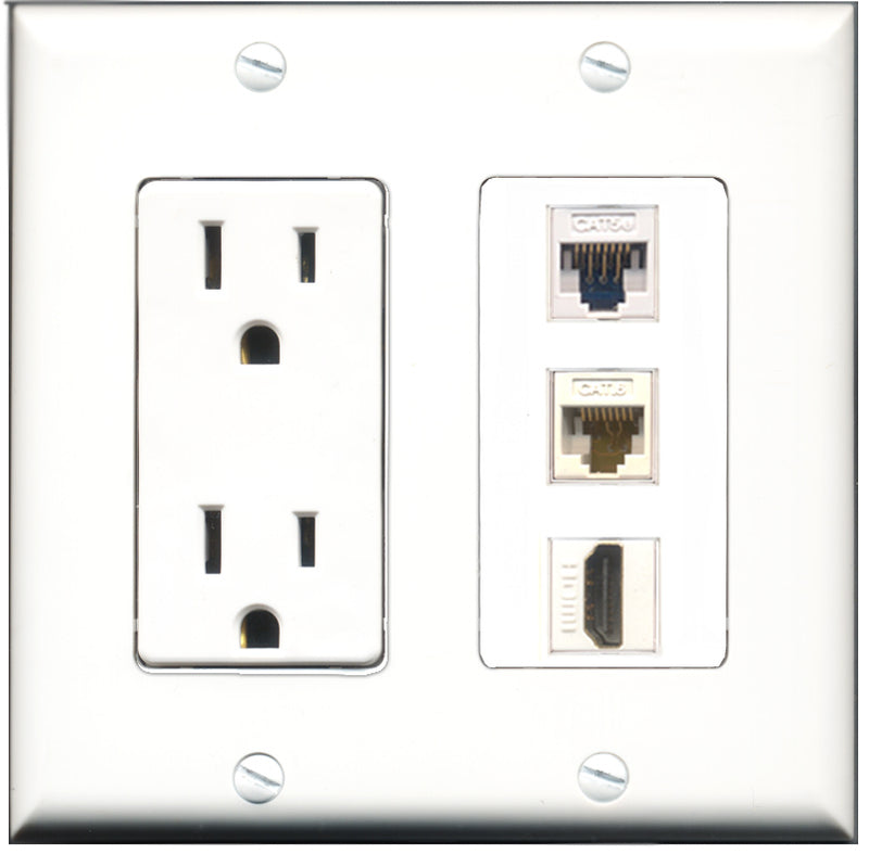 Wallplate City - 15 Amp Power Outlet 1 Port HDMI 1 Port Cat5e White 1 Port Cat6 White Decorative Wall Plate