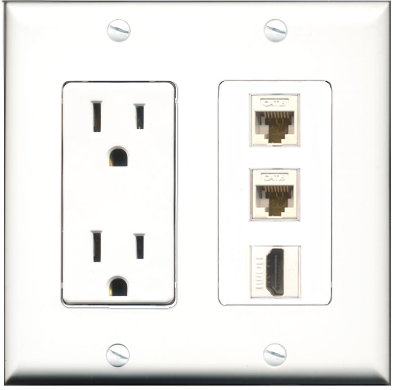 Wallplate City - 15 Amp Power Outlet 1 Port HDMI 2 Port Cat6 White Decorative Wall Plate