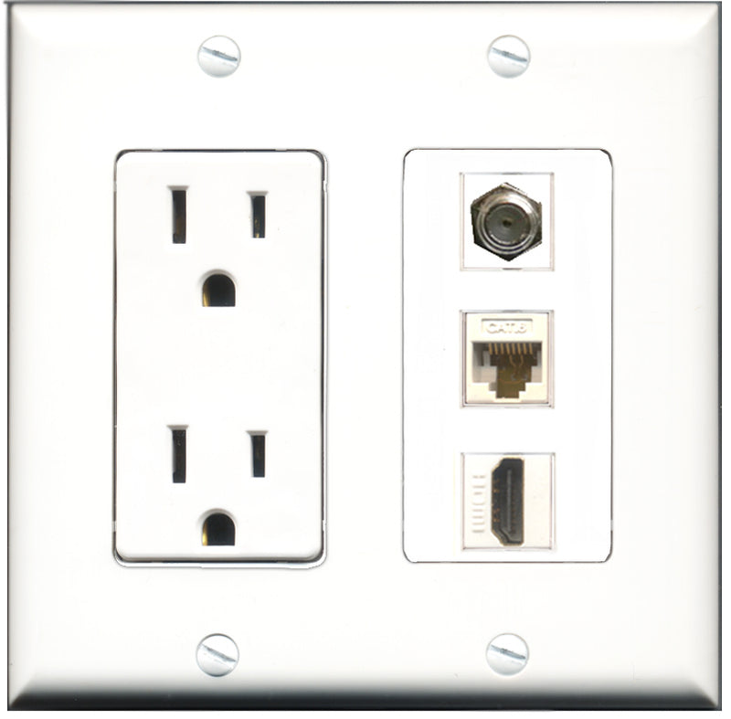 Wallplate City - 15 Amp Power Outlet 1 Port HDMI 1 Port Coax 1 Port Cat6 White Decorative Wall Plate