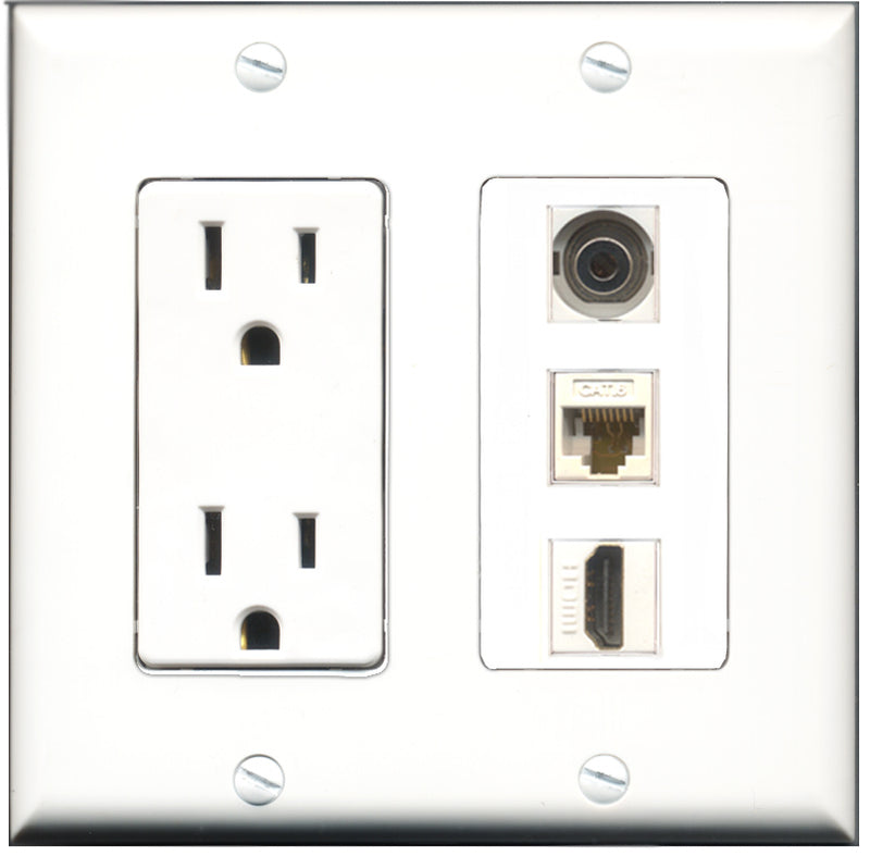 Wallplate City - 15 Amp Power Outlet 1 Port HDMI 1 Port 3.5mm 1 Port Cat6 White Decorative Wall Plate