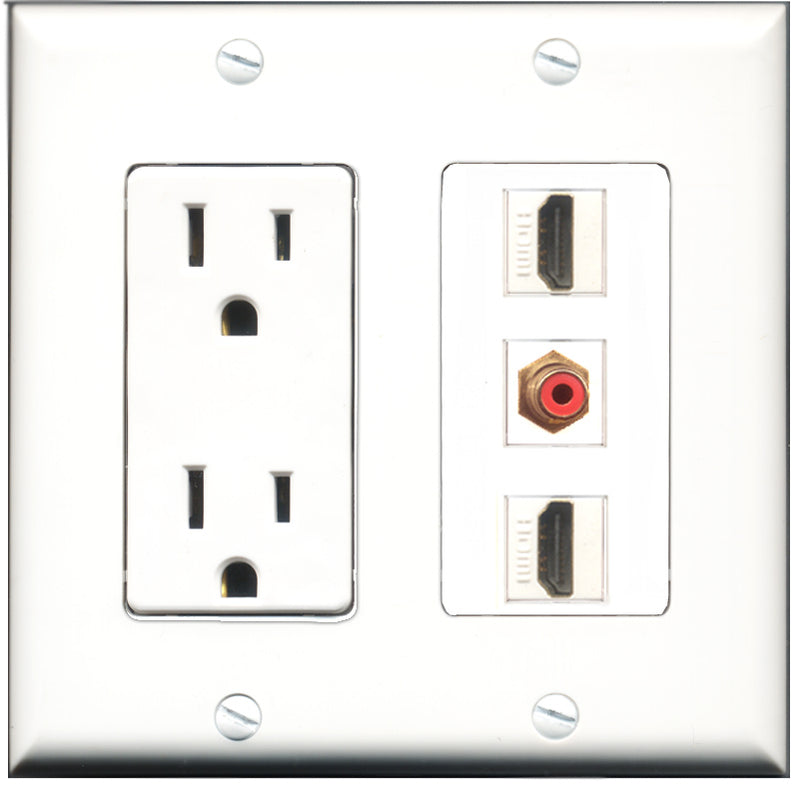 Wallplate City - 15 Amp Power Outlet 2 Port HDMI 1 Port RCA Red Decorative Wall Plate