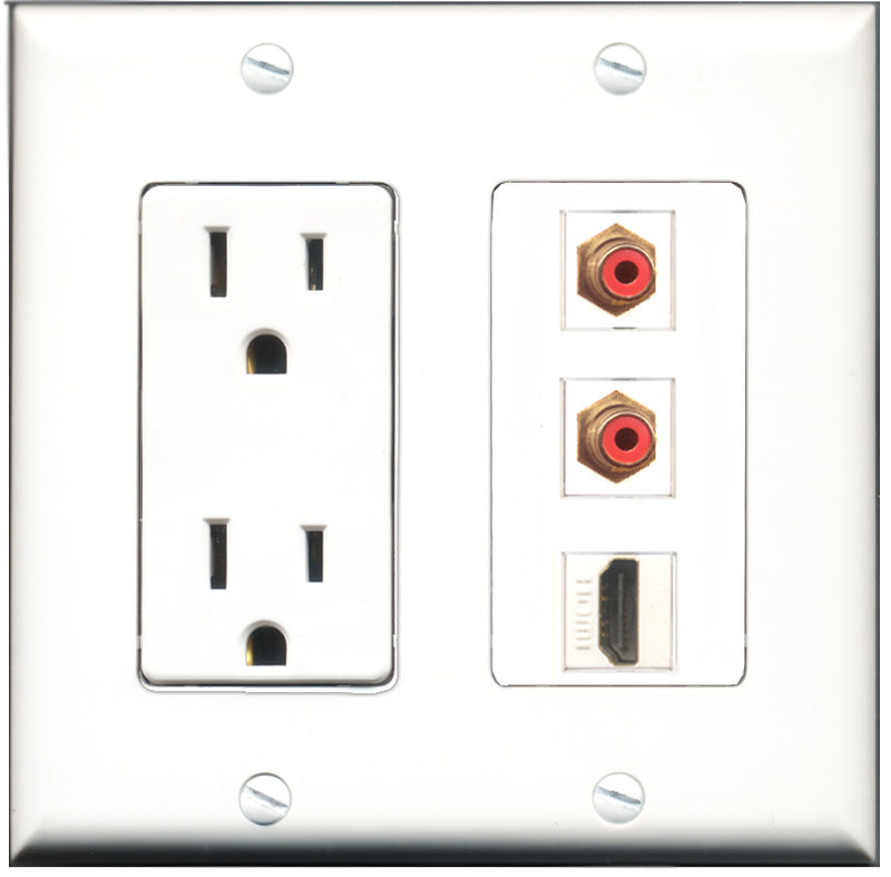 Wallplate City - 15 Amp Power Outlet 1 Port HDMI 2 Port RCA Red Decorative Wall Plate