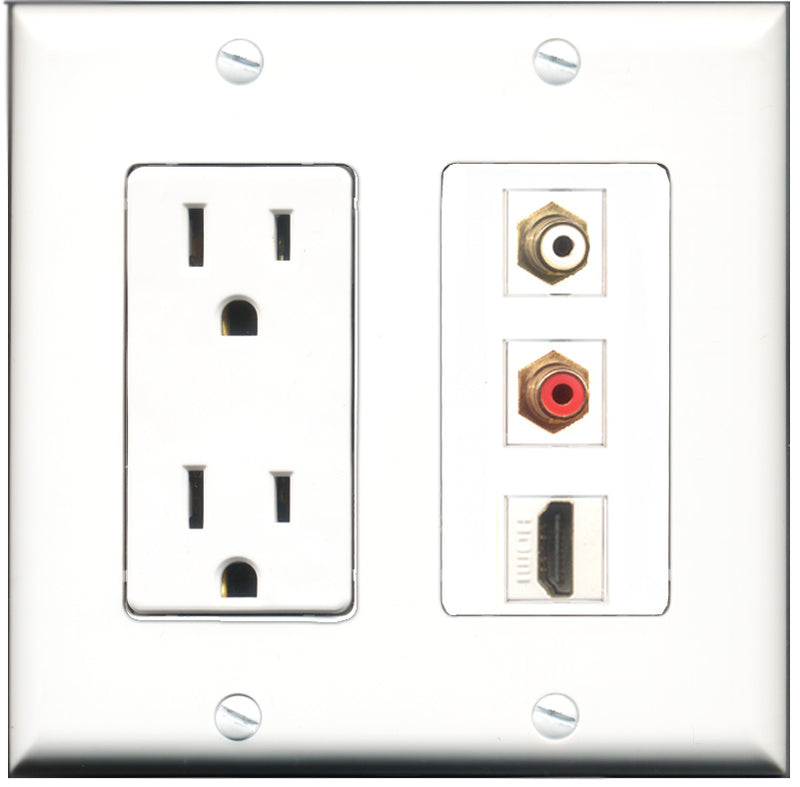 Wallplate City - 15 Amp Power Outlet 1 Port HDMI 1 Port RCA Red 1 Port RCA White Decorative Wall Plate