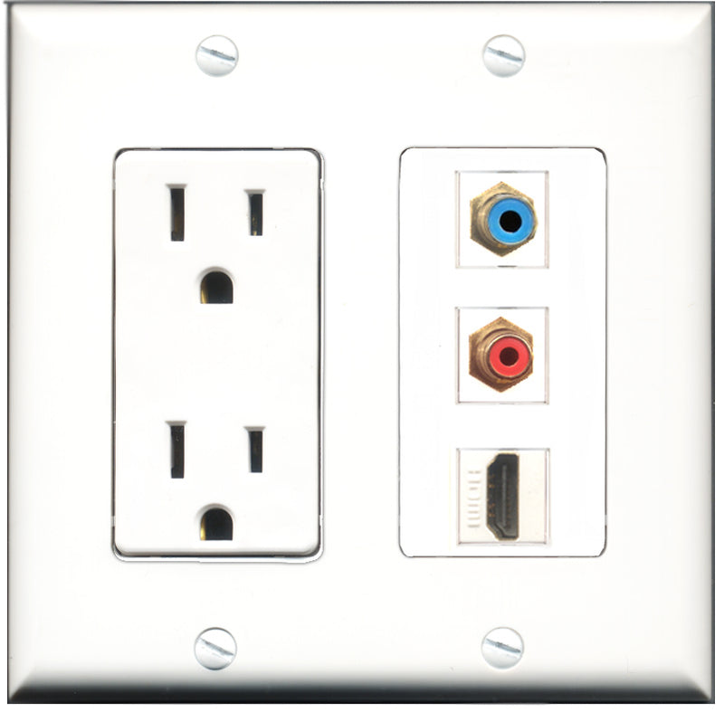 Wallplate City - 15 Amp Power Outlet 1 Port HDMI 1 Port RCA Red 1 Port RCA Blue Decorative Wall Plate