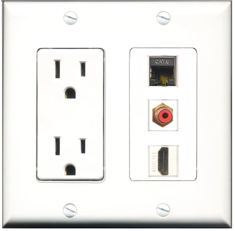 Wallplate City - 15 Amp Power Outlet 1 Port HDMI 1 Port RCA Red 1 Port Shielded Cat6 Decorative Wall Plate