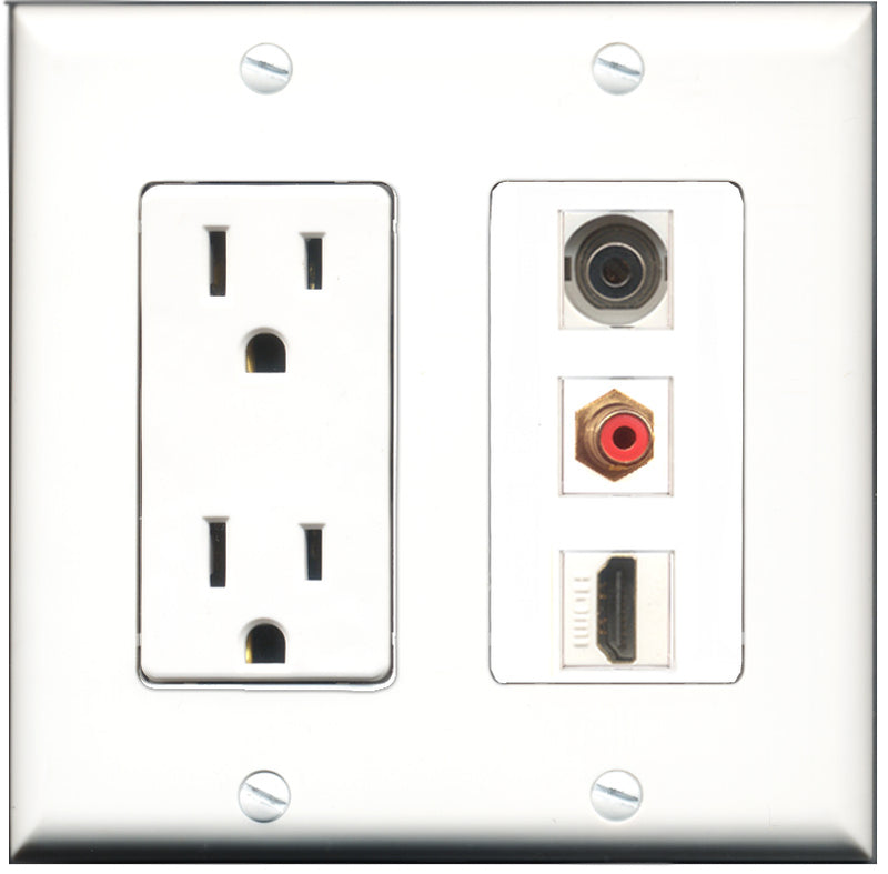 Wallplate City - 15 Amp Power Outlet 1 Port HDMI 1 Port RCA Red 1 Port 3.5mm Decorative Wall Plate