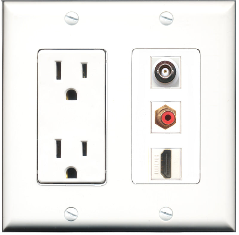 Wallplate City - 15 Amp Power Outlet 1 Port HDMI 1 Port RCA Red 1 Port BNC Decorative Wall Plate