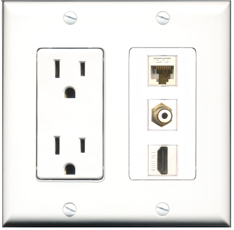 Wallplate City - 15 Amp Power Outlet 1 Port HDMI 1 Port RCA White 1 Port Cat6 White Decorative Wall Plate