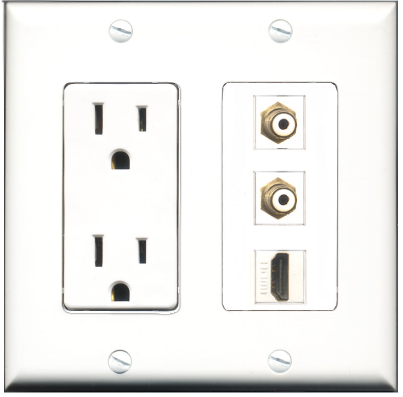 Wallplate City - 15 Amp Power Outlet 1 Port HDMI 2 Port RCA White Decorative Wall Plate