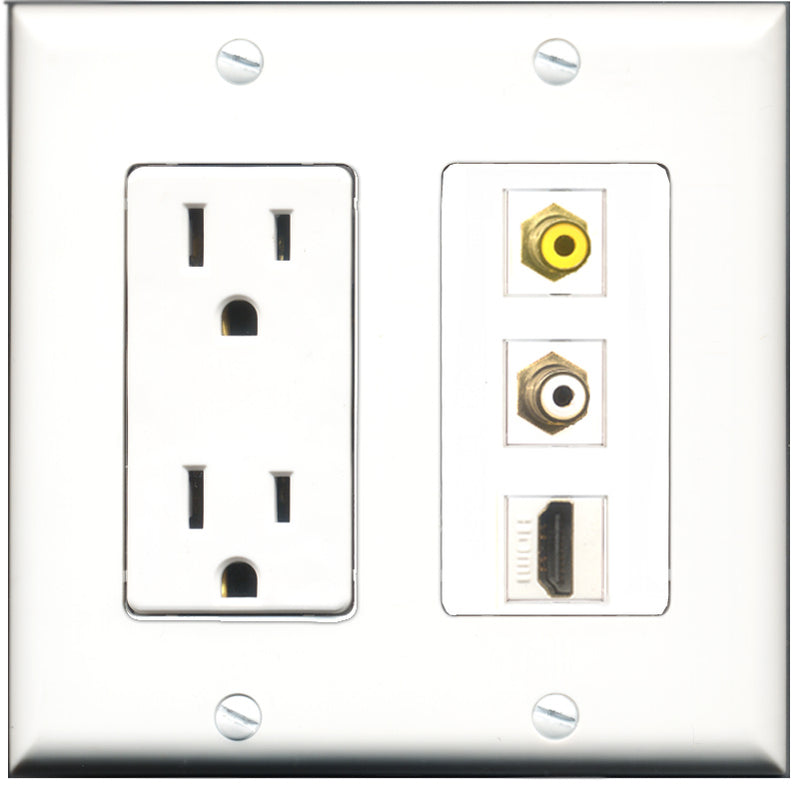 Wallplate City - 15 Amp Power Outlet 1 Port HDMI 1 Port RCA White 1 Port RCA Yellow Decorative Wall Plate