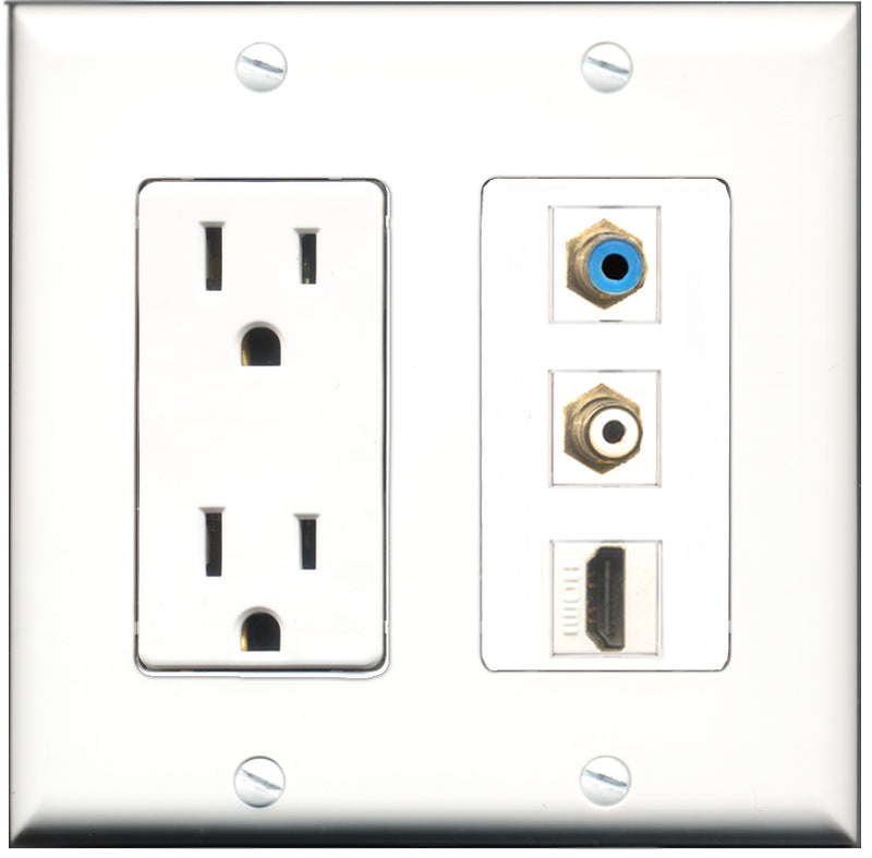 Wallplate City - 15 Amp Power Outlet 1 Port HDMI 1 Port RCA White 1 Port RCA Blue Decorative Wall Plate