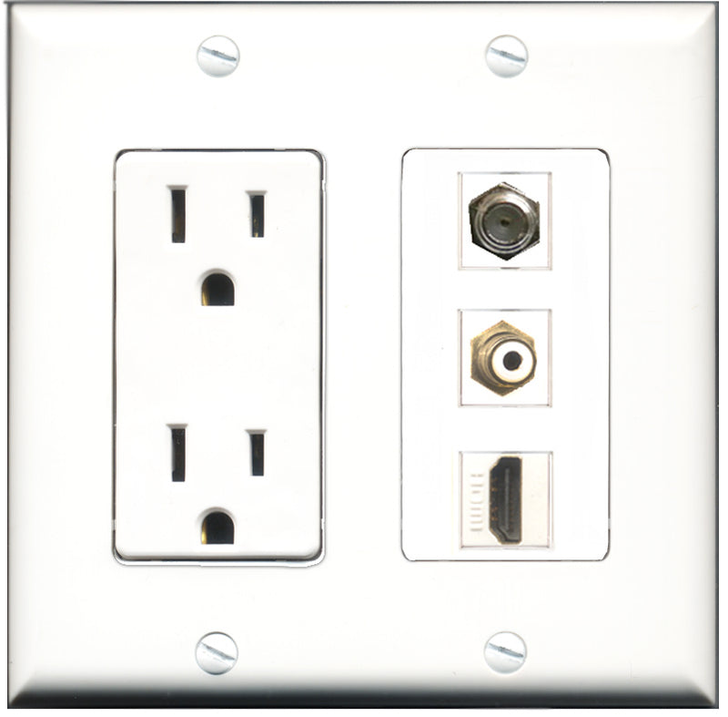 Wallplate City - 15 Amp Power Outlet 1 Port HDMI 1 Port RCA White 1 Port Coax Decorative Wall Plate