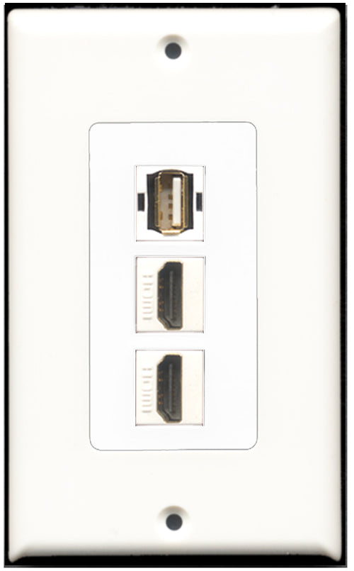 Wallplate City - 2 Port HDMI 1 Port USB A-A Wall Plate F/F Decorative