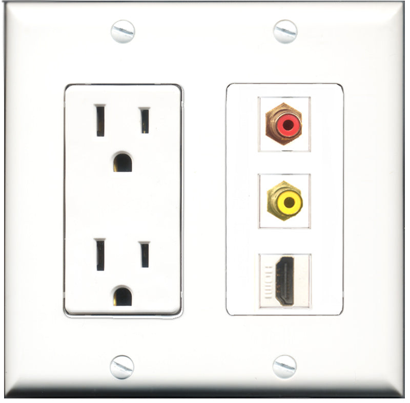 Wallplate City - 15 Amp Power Outlet 1 Port HDMI 1 Port RCA Red 1 Port RCA Yellow Decorative Wall Plate