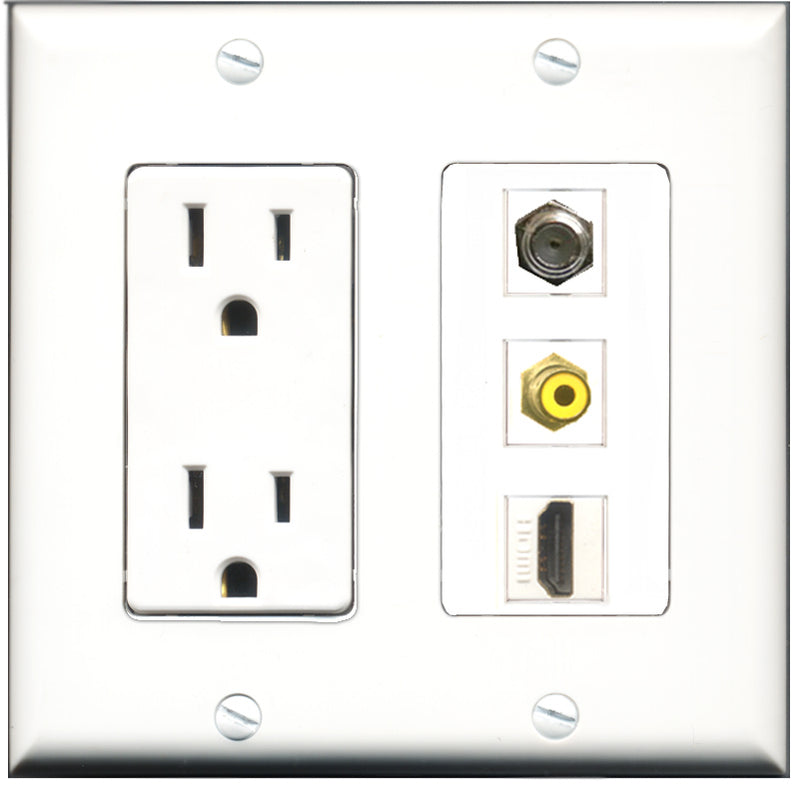 Wallplate City - 15 Amp Power Outlet 1 Port HDMI 1 Port RCA Yellow 1 Port Coax Decorative Wall Plate