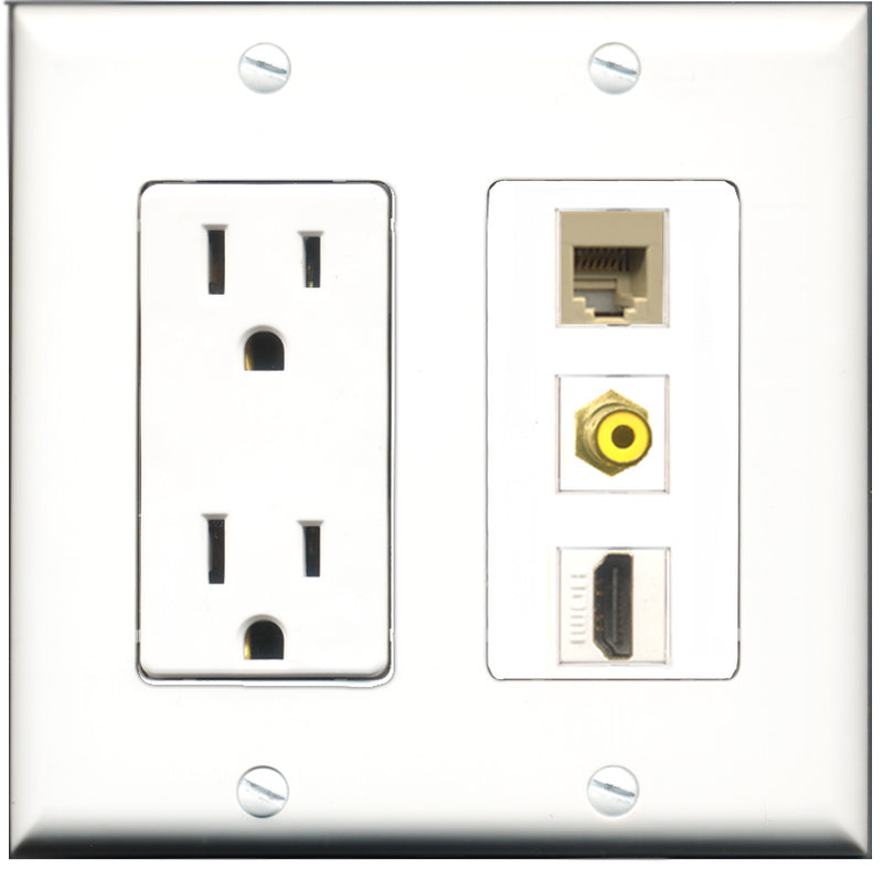 Wallplate City - 15 Amp Power Outlet 1 Port HDMI 1 Port RCA Yellow 1 Port Phone RJ11 RJ12 Beige Decorative Wall Plate