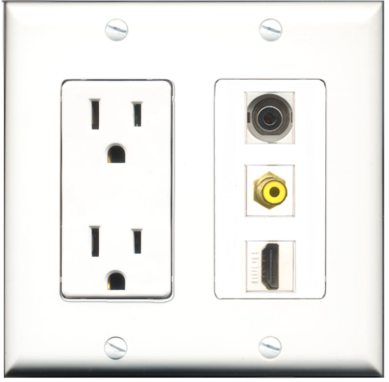 Wallplate City - 15 Amp Power Outlet 1 Port HDMI 1 Port RCA Yellow 1 Port 3.5mm Decorative Wall Plate