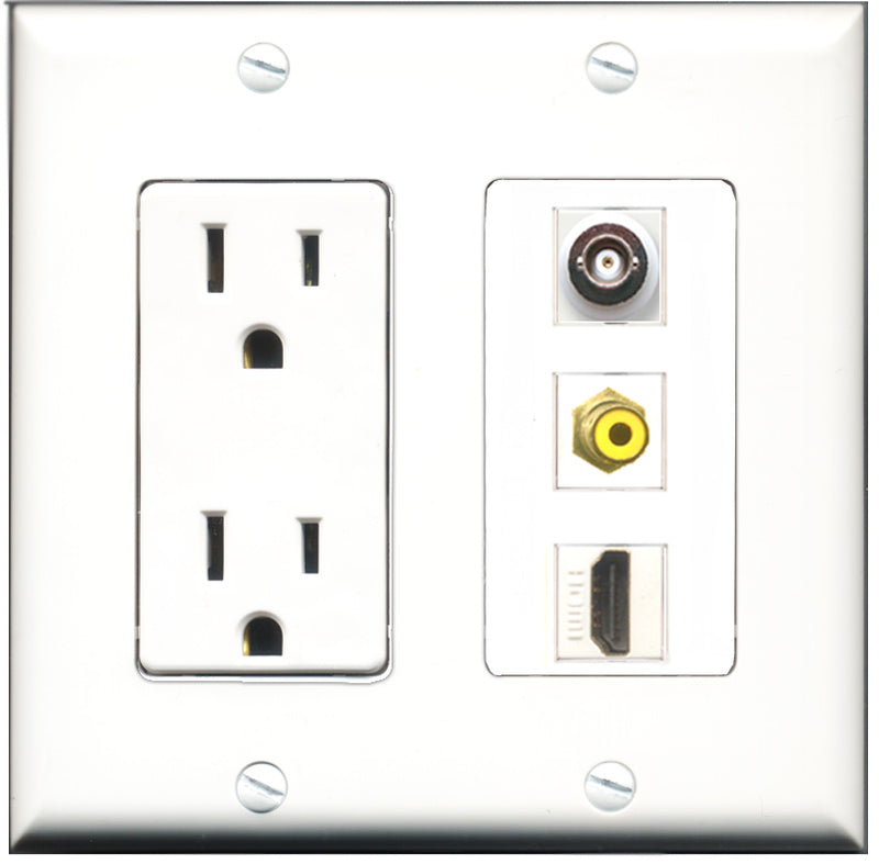 Wallplate City - 15 Amp Power Outlet 1 Port HDMI 1 Port RCA Yellow 1 Port BNC Decorative Wall Plate