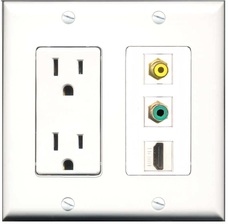 Wallplate City - 15 Amp Power Outlet 1 Port HDMI 1 Port RCA Yellow 1 Port RCA Green Decorative Wall Plate