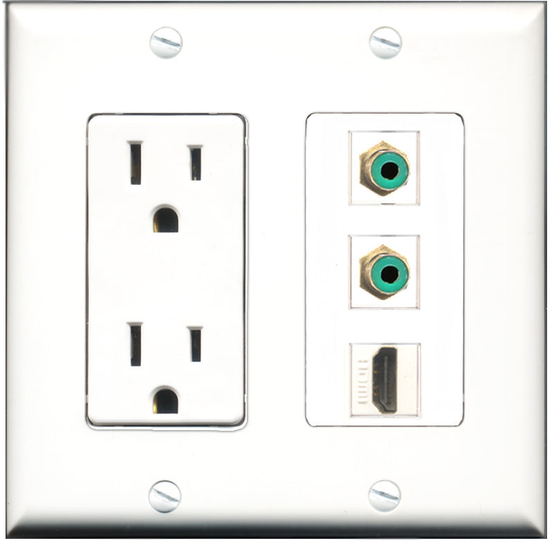 Wallplate City - 15 Amp Power Outlet 1 Port HDMI 2 Port RCA Green Decorative Wall Plate