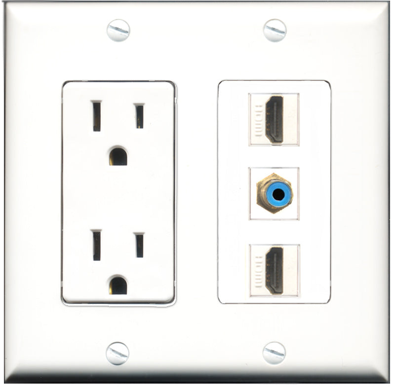 Wallplate City - 15 Amp Power Outlet 2 Port HDMI 1 Port RCA Blue Decorative Wall Plate