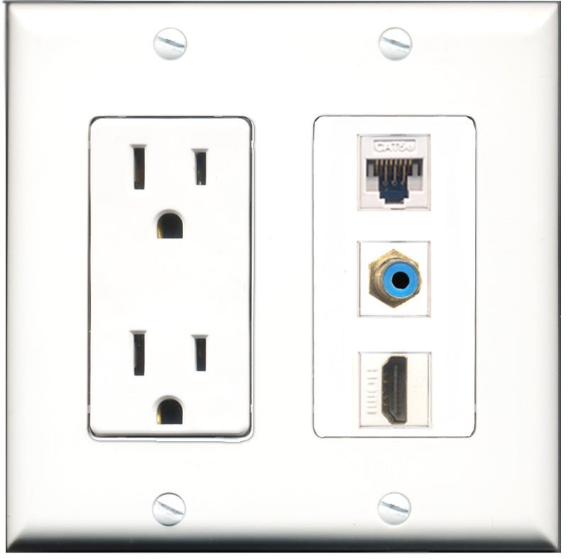 Wallplate City - 15 Amp Power Outlet 1 Port HDMI 1 Port RCA Blue 1 Port Cat5e White Decorative Wall Plate