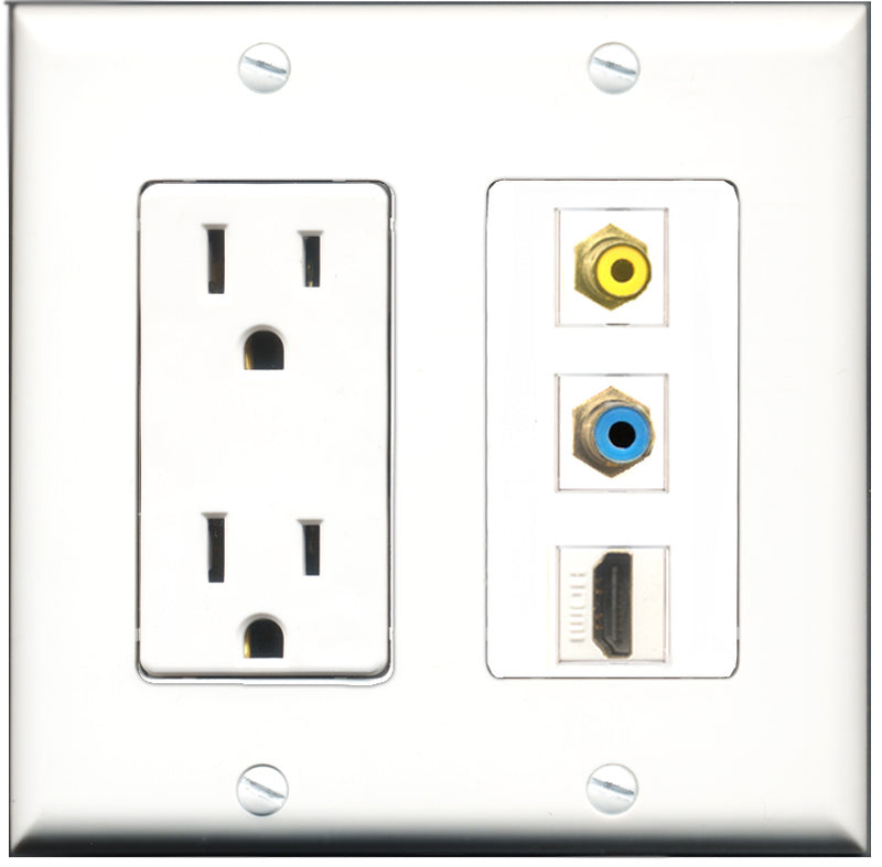 Wallplate City - 15 Amp Power Outlet 1 Port HDMI 1 Port RCA Yellow 1 Port RCA Blue Decorative Wall Plate