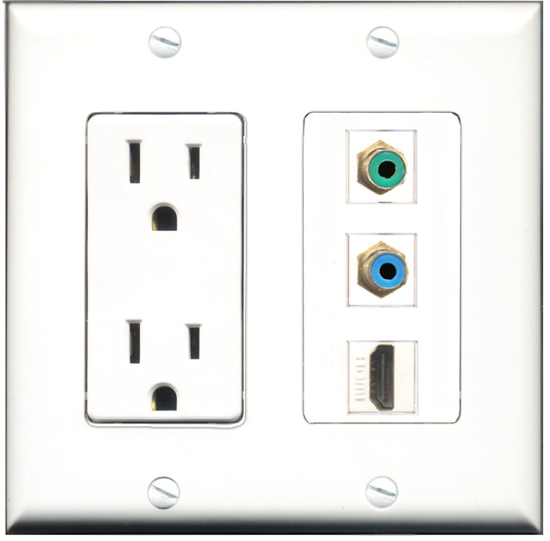 Wallplate City - 15 Amp Power Outlet 1 Port HDMI 1 Port RCA Green 1 Port RCA Blue Decorative Wall Plate