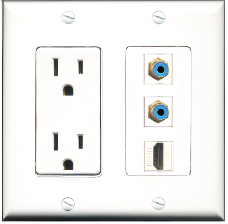 Wallplate City - 15 Amp Power Outlet 1 Port HDMI 2 Port RCA Blue Decorative Wall Plate