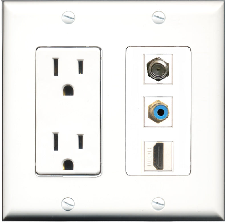 Wallplate City - 15 Amp Power Outlet 1 Port HDMI 1 Port RCA Blue 1 Port Coax Decorative Wall Plate