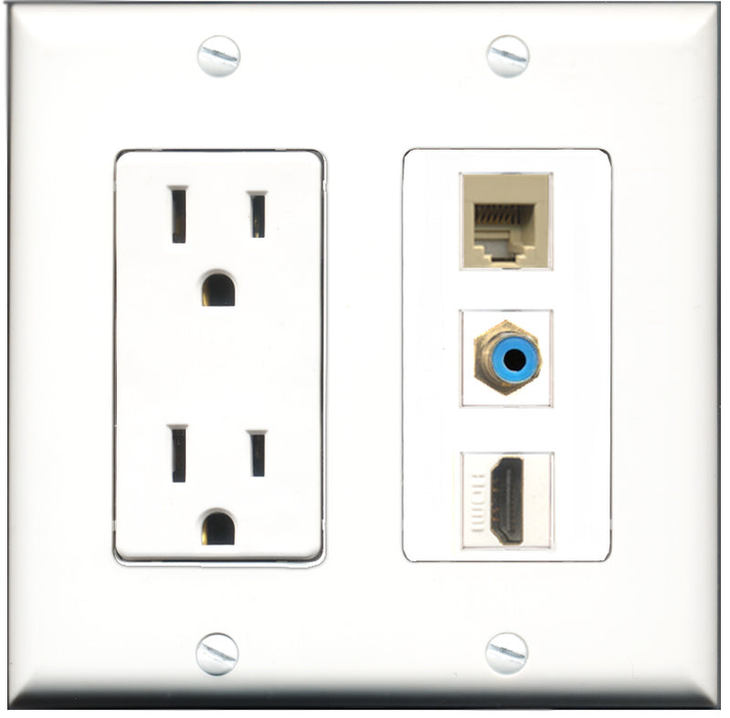 Wallplate City - 15 Amp Power Outlet 1 Port HDMI 1 Port RCA Blue 1 Port Phone RJ11 RJ12 Beige Decorative Wall Plate