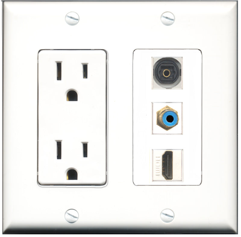 Wallplate City - 15 Amp Power Outlet 1 Port HDMI 1 Port RCA Blue 1 Port Toslink Decorative Wall Plate