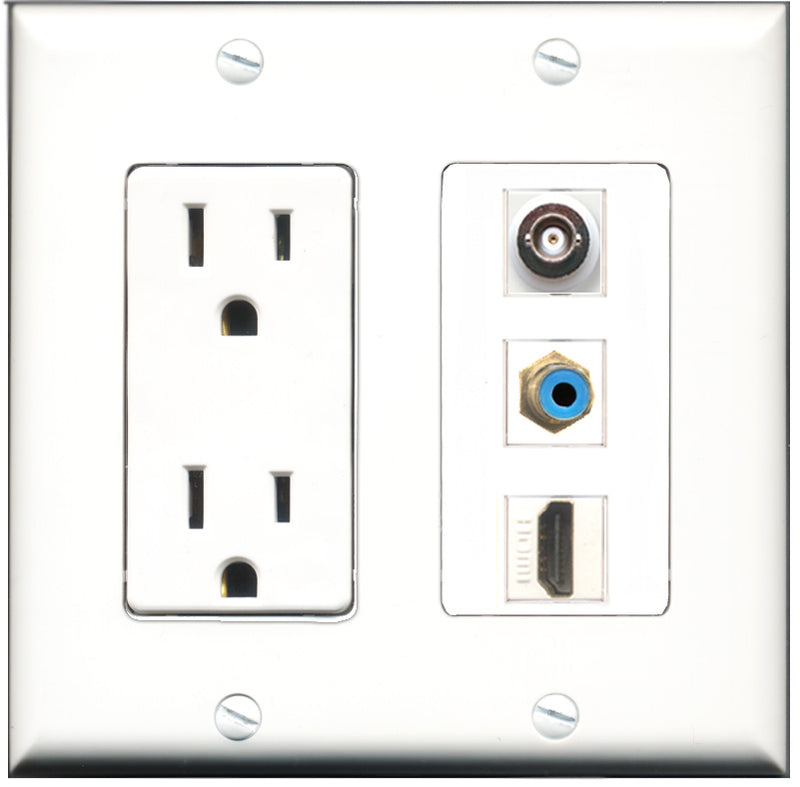 Wallplate City - 15 Amp Power Outlet 1 Port HDMI 1 Port RCA Blue 1 Port BNC Decorative Wall Plate