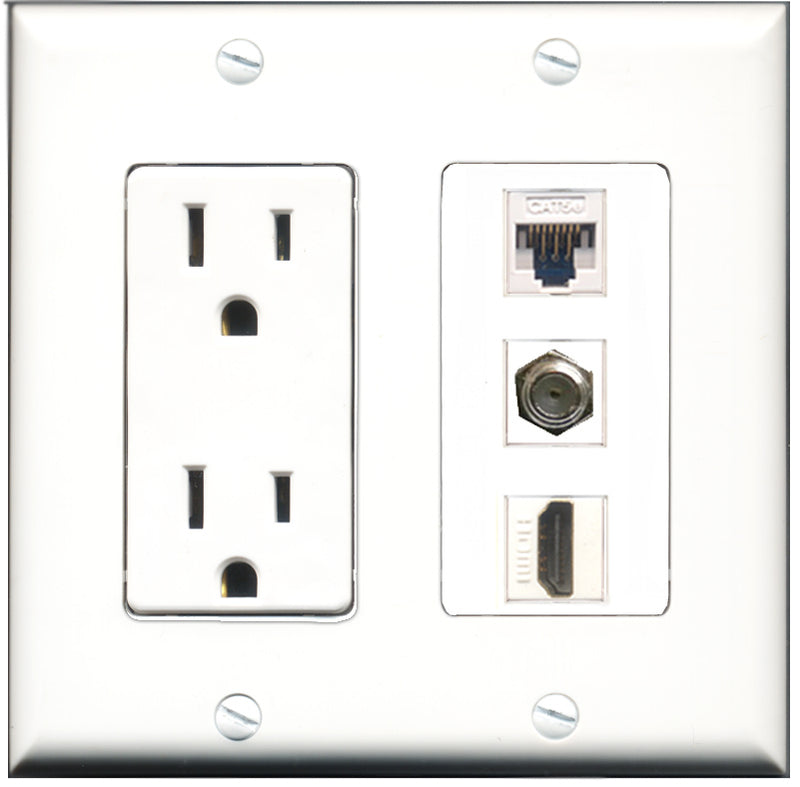 Wallplate City - 15 Amp Power Outlet 1 Port HDMI 1 Port Coax 1 Port Cat5e White Decorative Wall Plate